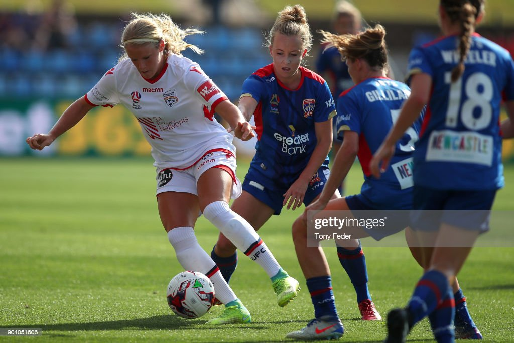 Makenzy Doniak of Adelaide controls the ball during the round 11 W-League match between the Newcastle Jets and Adelaide United at McDonald Jones Stadium on January 12, 2018 in Newcastle, Australia.