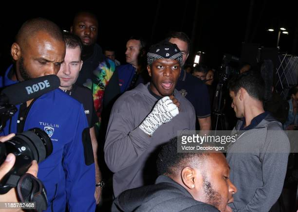 KSI makes his way to a media interview after working out at Venice Beach ahead of KSI vs Logan Paul 2 on November 05 2019 in Venice California KSI vs...