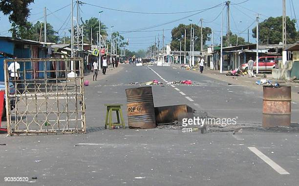 A makeshift barricade was erected on September 5 2009 in the second city of Port Gentil on a main road leading to Libreville after clashes erupted...