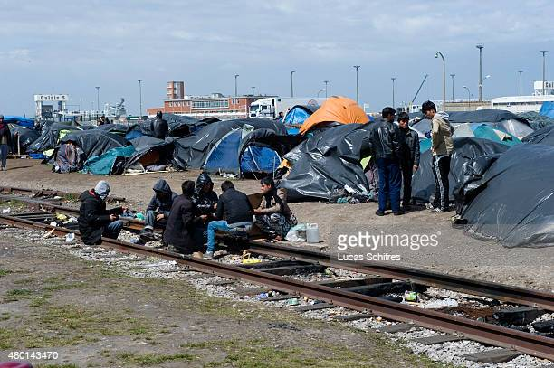 A makeshift camp for migrants in Calais France on May 7 2014 Around 2500 migrants are believed to be camping out in Calais which is the main port...