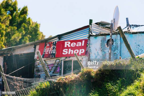 makeshift general store in a south african informal settlement - makeshift stock pictures, royalty-free photos & images