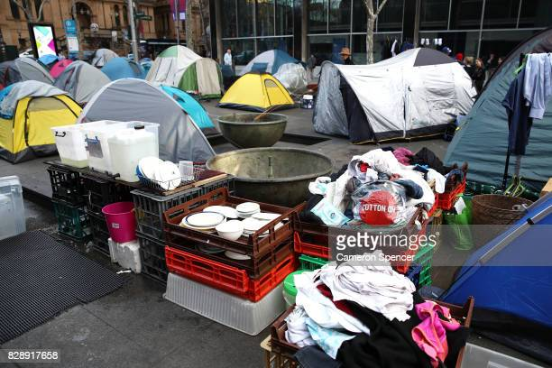 A makeshift kitchen is constructed surrounded by tents at Martin Place on August 10 2017 in Sydney Australia The NSW Government passed a new bill on...