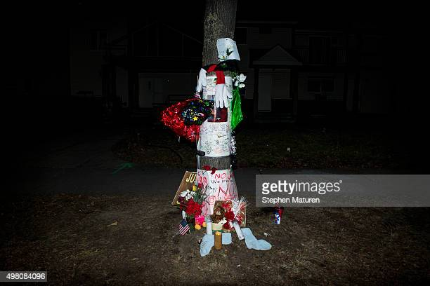 A makeshift memorial for Jamar Clark stands on the side of Plymouth Avenue several blocks from the 4th Precinct November 20 2015 in North Minneapolis...