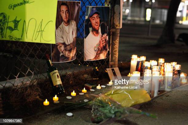 A makeshift memorial for late rapper Mac Miller appears at the corner of Fairfax and Melrose Avenues on September 8 2018 in Los Angeles California...