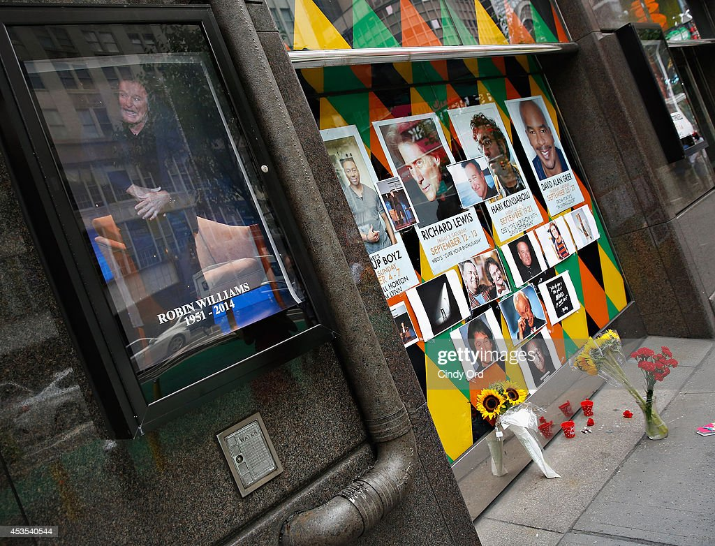 A makeshift memorial for Robin Williams seen in front of Carolines on Broadway comedy club on August 12, 2014 in New York City.