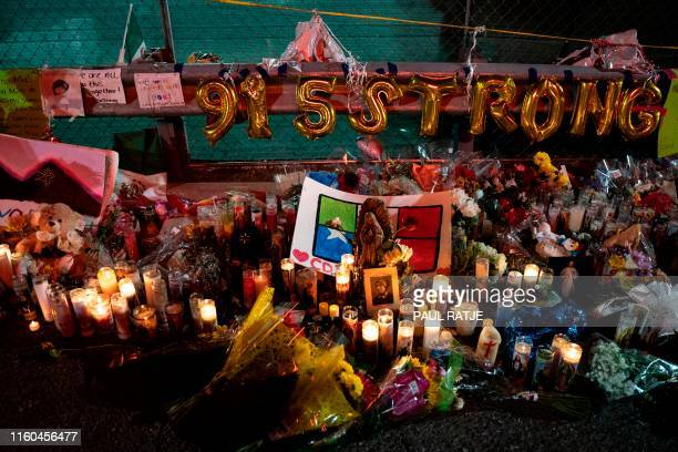 A makeshift memorial for shooting victims is pictured at the Cielo Vista Mall Walmart in El Paso Texas on August 8 2019 The El Paso community is...
