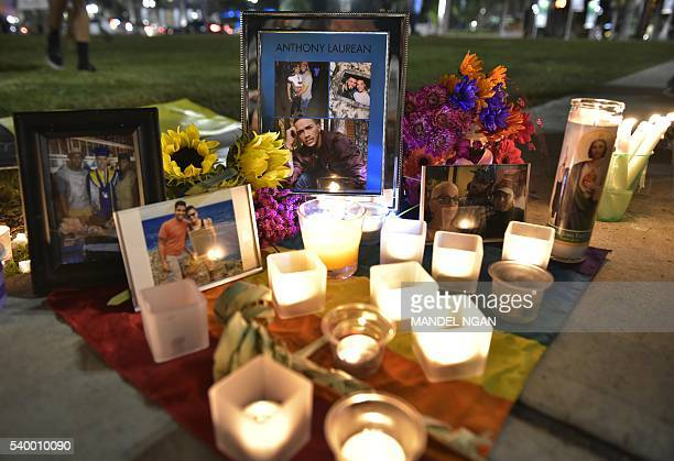 A makeshift memorial for the victims of the Pulse nightclub shooting is seen on June 13 2016 infront of the Dr Phillips Center for the Performing...