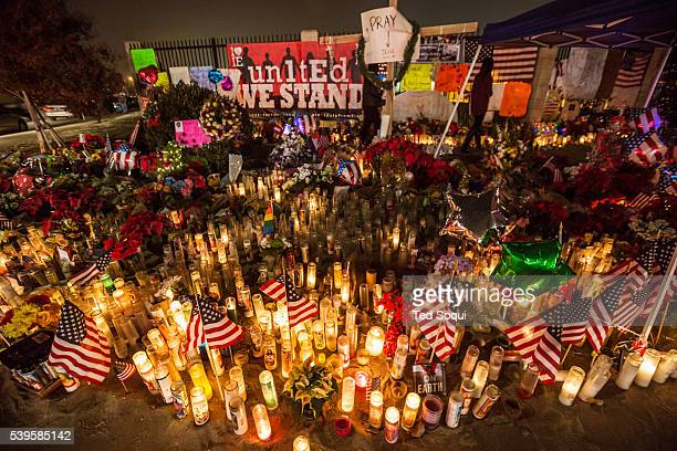 Makeshift memorial for those killed at the Inland Regional Center by two shooters, Sayed Farooz and Tashfeen Malik. 14 people were killed and several...