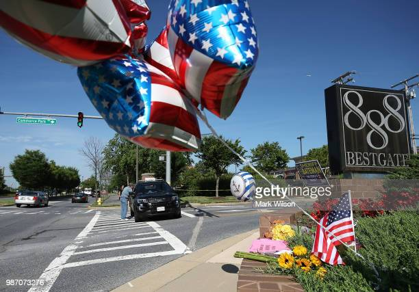 A makeshift memorial has been started near the Capital Gazette where 5 people were shot and killed by a gunman on Thursday on June 29 2018 in...