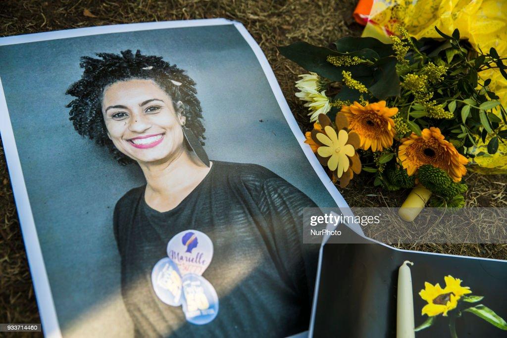 Protest against the killing of Rio's councilwoman Marielle Franco in Berlin : Fotografia de notícias