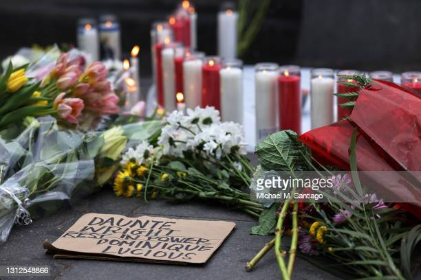Makeshift memorial is seen at a vigil for Daunte Wright and Dominique Lucious at Washington Square Park in Manhattan on April 14, 2021 in New York...