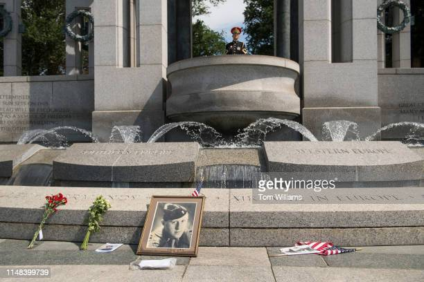 A makeshift memorial is seen at the National World War II Memorial during a ceremony to commemorate the 75th anniversary of DDay on Thursday June 6...