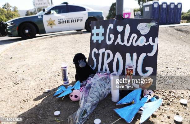 A makeshift memorial is seen outside the site of the Gilroy Garlic Festival after a mass shooting took place at the event yesterday on July 29 2019...
