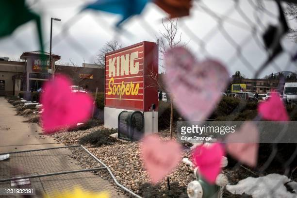Makeshift memorial is set up for the victims of the shooting at a King Soopers grocery store on March 25, 2021 in Boulder, Colorado. The Monday...