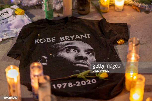 A makeshift memorial is shown near Staples Center in remembrance of former NBA great Kobe Bryant who along with his 13yearold daughter Gianna died...