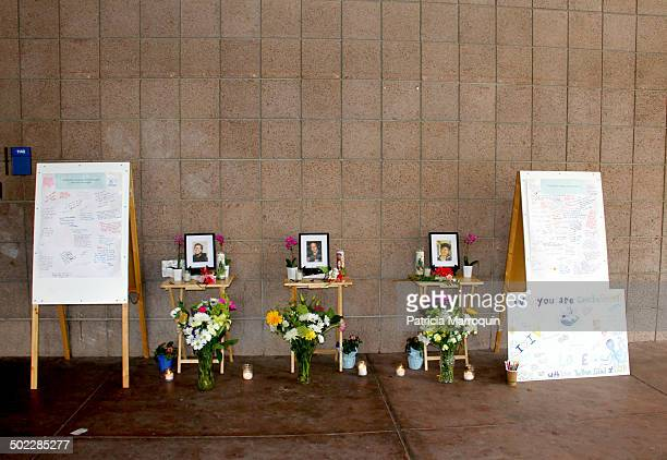 Makeshift memorial outside of Harold Frank Hall at UC Santa Barbara for the three UCSB engineering students stabbed to death by Elliot Rodger in Isla...