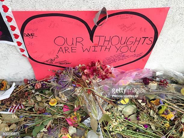Makeshift memorial outside the IV Deli Mart where Elliot Rodger gunned down Christopher MichaelsMartinez in a massacre in Isla Vista California...