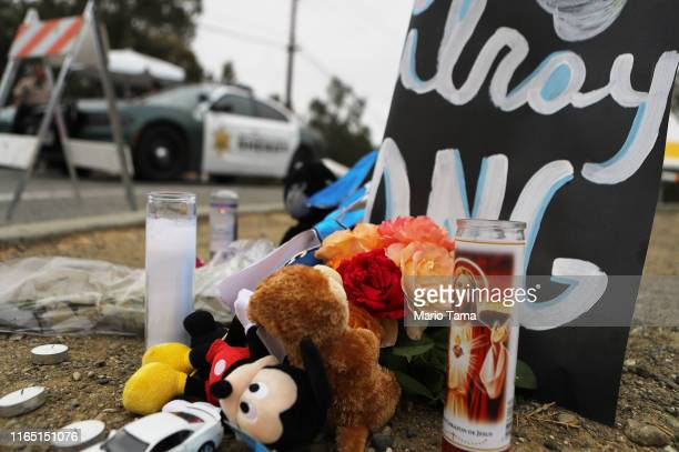 A makeshift memorial sits outside the site of the Gilroy Garlic Festival two days after a mass shooting there on July 30 2019 in Gilroy California...