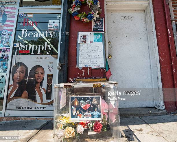 A makeshift memorial to Eric Garner sits on the sidewalk along Bay Street next to where he died On the second anniversary of the death of Eric Garner...