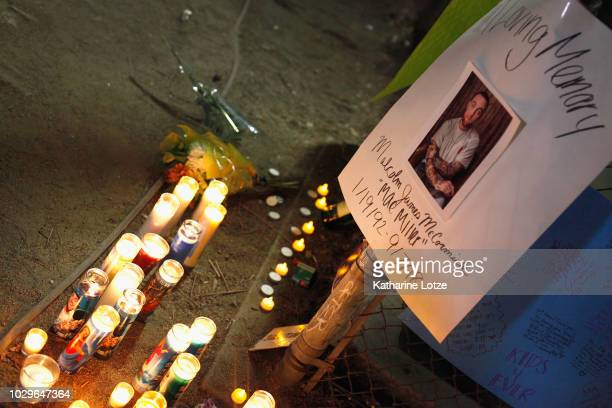 A makeshift memorial to late rapper Mac Miller appears at the corner of Fairfax and Melrose Avenues on September 8 2018 in Los Angeles California...