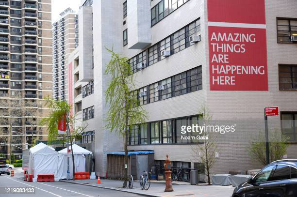 Makeshift morgue is outside NewYork-Presbyterian Lower Manhattan Hospital during the coronavirus pandemic on April 15, 2020 in New York City....
