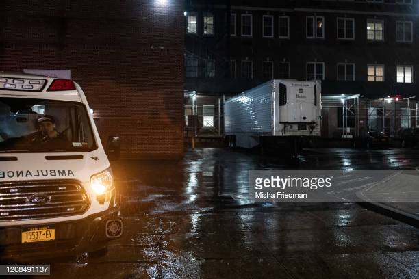 Makeshift morgue outside Emergency Department St Barnabas Hospital in the Bronx on March 28 2020 in New York City The World Health Organization...
