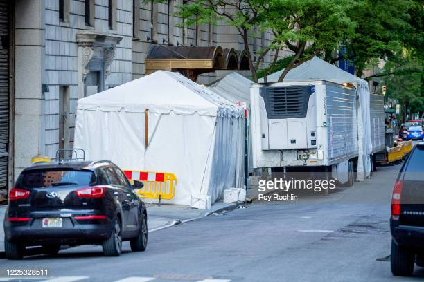 A makeshift morgue outside the Lenox Hill Hospital on May 16 2020 in New York City COVID19 has spread to most countries around the world claiming...
