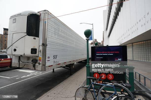 Makeshift morgue sits outside of Lenox Health Greenwich Village facility to handle an expected surge in coronavirus victims on March 30 2020 in New...