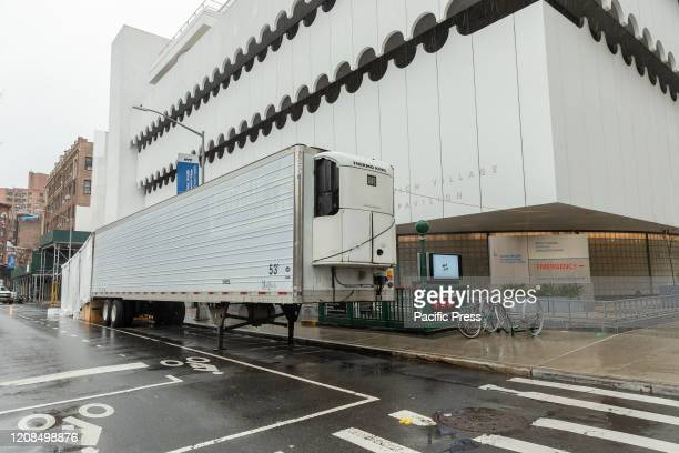 Makeshift morgue trailer set next to Lenox Health Medical Pavilion part of Northwell Health system in Greenwich Village of Manhattan