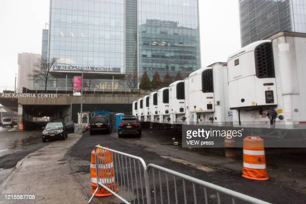 Makeshift morgue trailers sits alongside Bellevue Hospital Center on March 29 2020 in New York City New York City with more than 59000 confirmed...