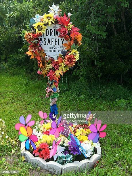 A makeshift roadside memorial to someone who died in an auto accident at that spot in Ponte Vedra Beach Florida