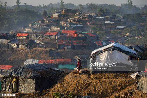 Makeshift shelters cover the hills in the overcrowded Balukhali camp September 17, 2017 in Balukhali, Cox's Bazar, Bangladesh. Nearly 400,000...