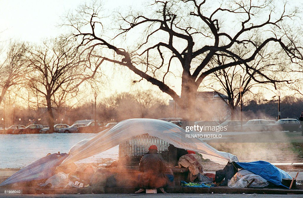 A makeshift tent serves a shelter for three homeless men 06 January 1988 as bitter cold & A makeshift tent serves a shelter for three homele Pictures ...