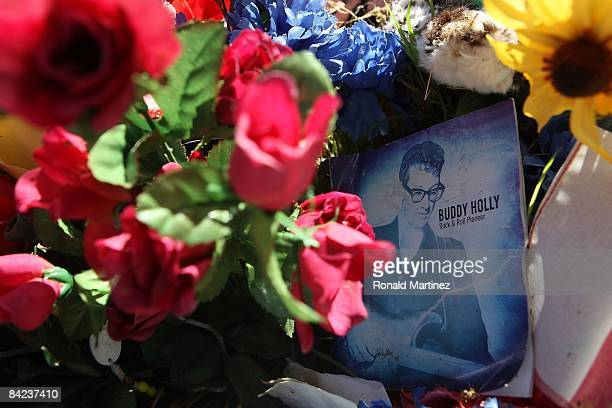A makeshift tribute to Buddy Holly on his gravesite at the City of Lubbock Cemetery on November 8 2008 in Lubbock Texas Februray 3 2009 will be the...