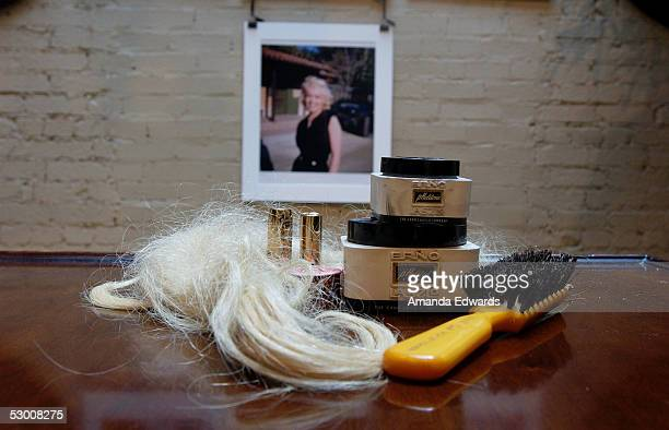 Makeup and beauty products that belonged to the late actress Marilyn Monroe are displayed during a preview of the Juliens Auctions Marilyn Monroe...