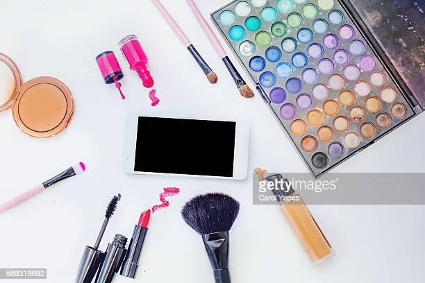 makeup and smartphone mock up