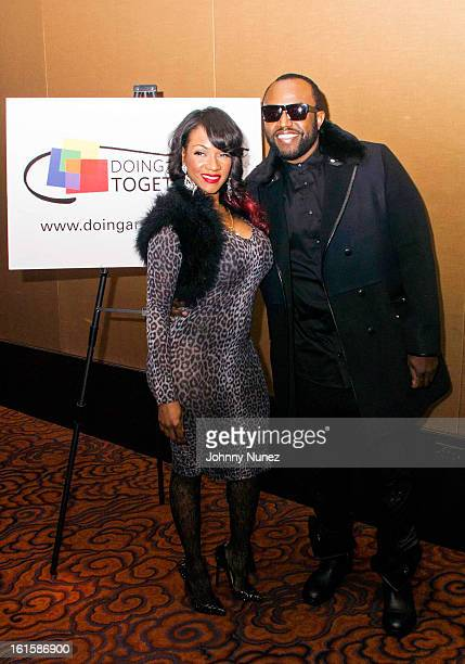 Makeup artist and photographer Robin V and music producer Rico Love attend the 28th Annual Doing Art Together Benefit at the Mandarin Oriental Hotel...