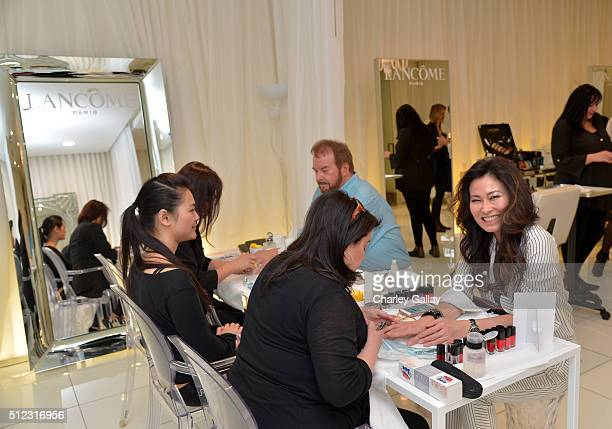 Makeup artist Barry Koper host SunHee Grinnell attend Vanity Fair Lancome And Clarisonic Makeup Artist Spa Day at SLS Hotel on February 25 2016 in...