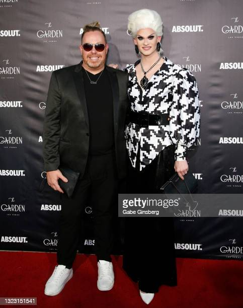 """Makeup artist Bo Brinkman and """"RuPaul's Drag Race"""" season 13 contestant Elliott with 2 Ts attend the one year anniversary party at The Garden Las..."""