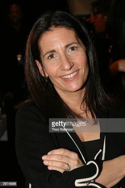 Makeup artist Bobbi Brown sits backstage at the Jeffrey Chow Fall 2004 during Olympus Fashion Week February 12 2004 in New York City