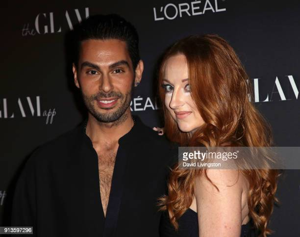 Makeup artist, hairstylist and the Glam App founder & CCO Joey Maalouf and the Glam App Co-Chief Executive Officer Katrina Barton attend the Glam App...