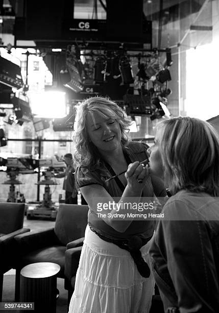 Makeup artist Helen Dowsley with Melissa Doyle from Sunrise 11 October 2005 SMH Picture by SAHLAN HAYES