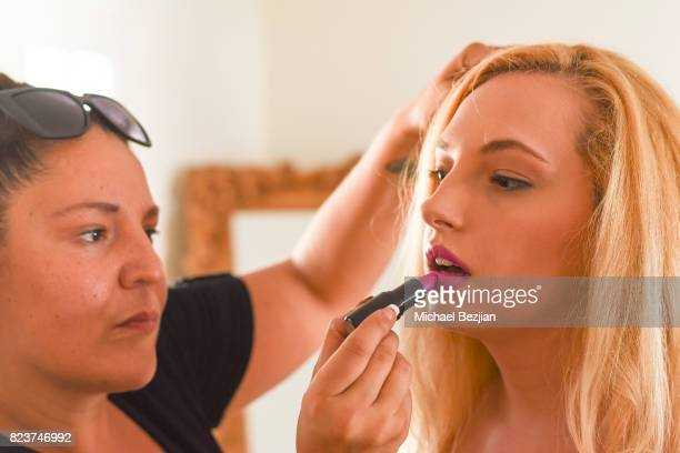 Makeup artist Jade Martinez and actress Alexis Nolan attend George Blodwell styles Alexis Nolan at The Artists Project TAP Style House on July 26...
