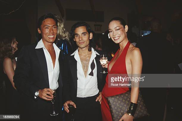 Makeup artist James Kaliadros with 'Visionaire' magazine editors Cecilia Dean and Stephen Gan at a 'Visionaire' magazine party at Mr Chow's...