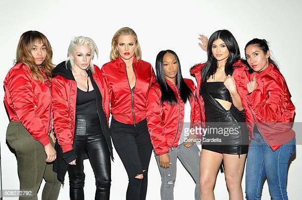 Makeup artist Joyce Bonelli Tv personality Khloe Kardashian actress Malika Haqq tv personality Kylie Jenner and hair stylist Jen Atkin attend FORWARD...