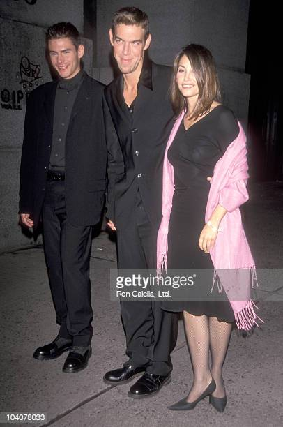 Makeup artist Kevyn Aucoin and boyfriend Jeremy Antunes with actress Gina Gershon attend the Audrey Hepburn�s 70th Birthday Tribute Gala to Help...