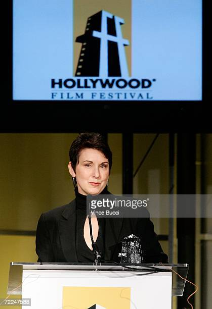 Makeup artist Kris Evans accepts the Makeup Artist of the Year Award at The Hollywood Film Festival 10th Annual Hollywood Awards Gala Ceremony at the...
