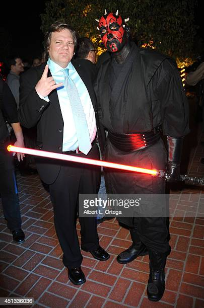 Makeup artist Patrick Baxter and darth Maul of Dark Side Riders attend the After Party for the 40th Annual Saturn Awards held at on June 26 2014 in...