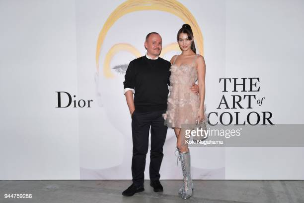 Makeup artist Peter Philips and Model Bella Hadid attend Dior's The Art of Color Press Preview on April 11 2018 in Tokyo Japan