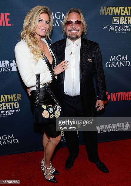 Makeup artist Rain Hannah and singer Vince Neil of Motley Crue arrive at the VIP PreFight Party for 'High Stakes Mayweather v Berto' presented by...
